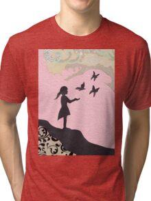 Girl with Butterflies Tri-blend T-Shirt