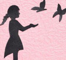 Girl with Butterflies Sticker