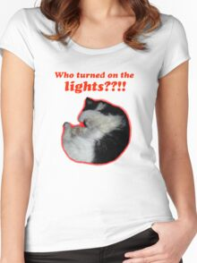 Who turned on the lights? Women's Fitted Scoop T-Shirt