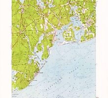 Massachusetts  USGS Historical Topo Map MA Cotuit 350092 1961 24000 by wetdryvac