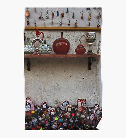 Turkish Folk Art: Pottery And Dolls Poster
