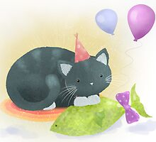 Floyd the cat's birthday party by Hannah Chapman