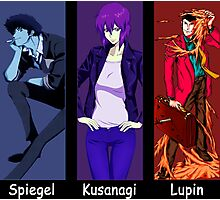 cowboy bebop ghost in the shell lupin the 3rd spike spiegel motoko kusanagi anime manga shirt Photographic Print