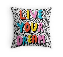 Ya Heard - 1980's throwback retro pattern memphis-style hipster bright colorful pop art minimal rad Throw Pillow