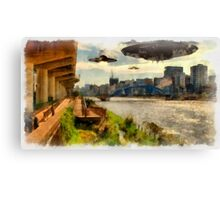 UFOs up River by Raphael Terra Canvas Print