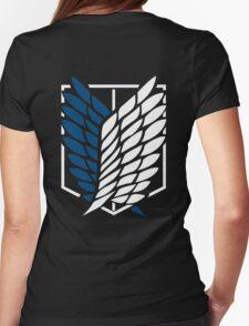 Attack on Titan Shingeki No Kyojin Scouting Legion Recon Corps Logo Cosplay Anime T Shirt Womens Fitted T-Shirt