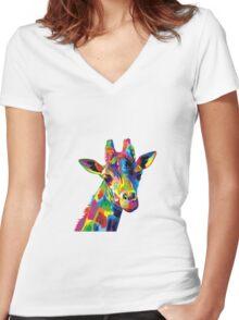 Giraffa Women's Fitted V-Neck T-Shirt