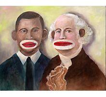 George Washington and Obama as Sock Monkeys Photographic Print