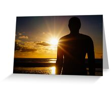 Iron Man at Sunset, Crosby Beach Greeting Card