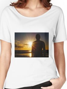 Iron Man at Sunset, Crosby Beach Women's Relaxed Fit T-Shirt