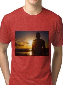 Iron Man at Sunset, Crosby Beach Tri-blend T-Shirt