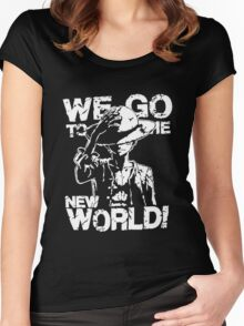 One Piece Monkey D. Luffy We Go To The New World Mugiwara Strawhats Pirates Anime Cosplay T Shirt Women's Fitted Scoop T-Shirt