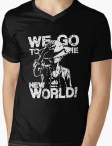 One Piece Monkey D. Luffy We Go To The New World Mugiwara Strawhats Pirates Anime Cosplay T Shirt Mens V-Neck T-Shirt