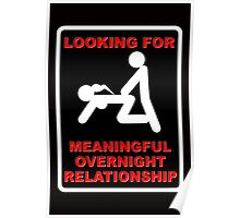 FUNNY T SHIRT LOOKING FOR MEANINGFUL OVERNIGHT RELATIONSHIP WANTED Poster