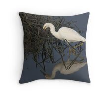 Egret in Reflection Throw Pillow