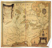 French Map of North America by Jean Baptiste Louis Franquelin (1685) Poster