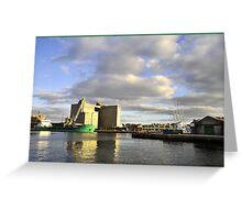 dawn on the docks Greeting Card