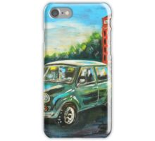 Mini Cooper with red telephone box iPhone Case/Skin