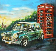 Mini Cooper with red telephone box by SM-artman