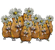 Hamster Group with Daisies, Cute, Whimsical Art by Joyce Geleynse