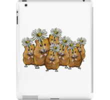 Hamster Group with Daisies, Cute, Whimsical Art iPad Case/Skin