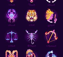 The 12 Zodiac Signs - Lightburst  by ifourdezign