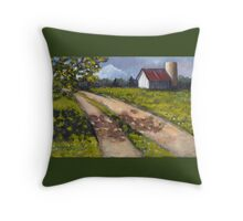 Country Lane with Barn and Silo, Painting Throw Pillow