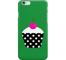 Black and white polka dot cupcake with pink cherry geek funny nerd iPhone Case/Skin