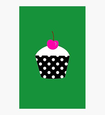 Black and white polka dot cupcake with pink cherry geek funny nerd Photographic Print