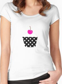 Black and white polka dot cupcake with pink cherry geek funny nerd Women's Fitted Scoop T-Shirt