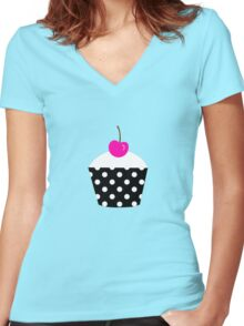 Black and white polka dot cupcake with pink cherry geek funny nerd Women's Fitted V-Neck T-Shirt