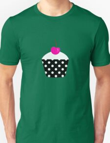 Black and white polka dot cupcake with pink cherry geek funny nerd T-Shirt