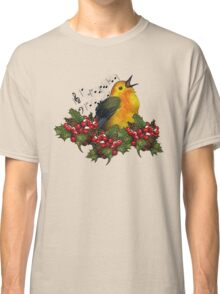 Christmas Holly with Singing Bird Classic T-Shirt