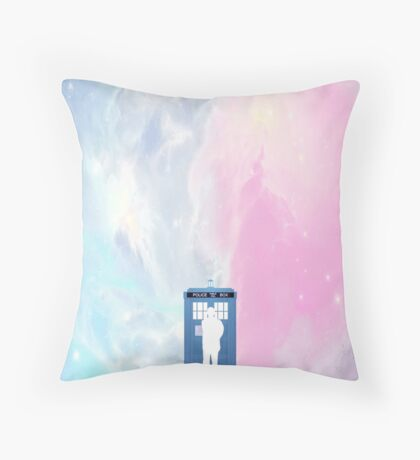 tardis and the doctor in space Throw Pillow