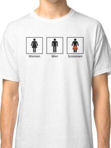 Women, Men, Scotsmen Humorous Toilet Signs Classic T-Shirt