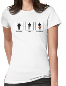 Women, Men, Scotsmen Humorous Toilet Signs Womens Fitted T-Shirt