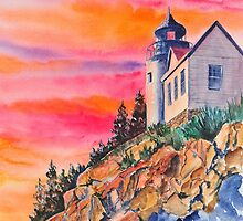 Bass Harbor Light Sunset by jwwalker