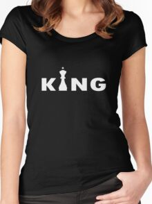 Cool king typography chess geek funny nerd Women's Fitted Scoop T-Shirt