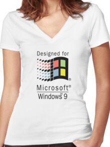 Designed for Microsoft Windows 9 Women's Fitted V-Neck T-Shirt