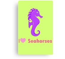Cute i love heart sehorses in purple and pink geek funny nerd Canvas Print