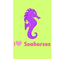 Cute i love heart sehorses in purple and pink geek funny nerd Photographic Print