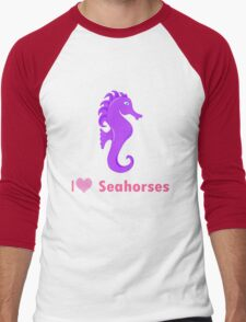 Cute i love heart sehorses in purple and pink geek funny nerd Men's Baseball ¾ T-Shirt