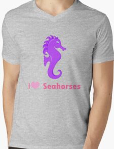 Cute i love heart sehorses in purple and pink geek funny nerd Mens V-Neck T-Shirt