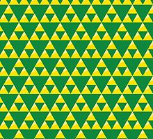 Green and Gold Zelda Inspired Triforce by pidesignprints