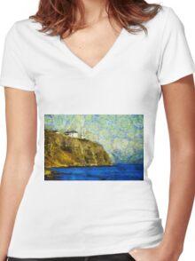 Starry Blackhead Lighthouse Women's Fitted V-Neck T-Shirt