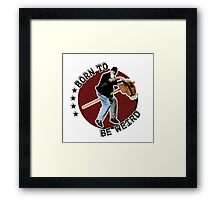 Hilarious biker playing on a stick horse  Framed Print