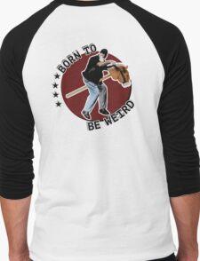 Hilarious biker playing on a stick horse  Men's Baseball ¾ T-Shirt