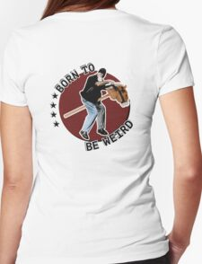 Hilarious biker playing on a stick horse  Womens Fitted T-Shirt