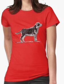 Standing dog sketch on black Womens Fitted T-Shirt