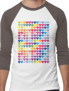 Colorful Hearts  Men's Baseball ¾ T-Shirt